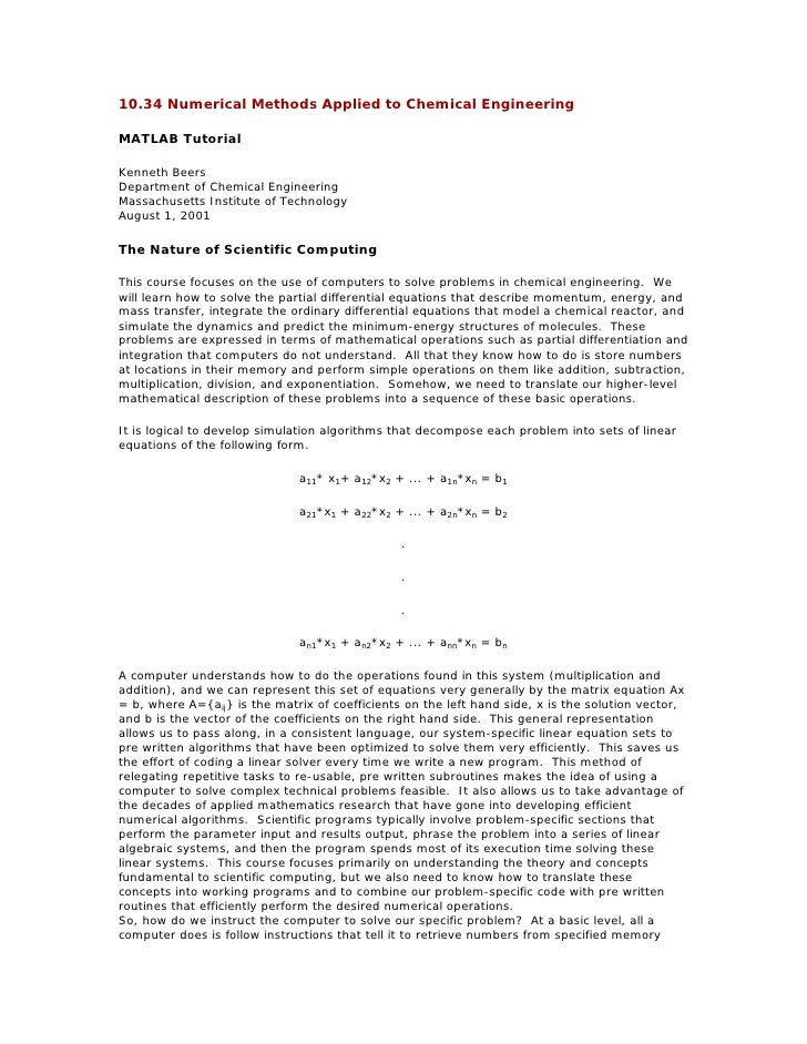 10.34 Numerical Methods Applied to Chemical EngineeringMATLAB TutorialKenneth BeersDepartment of Chemical Engineering Mass...