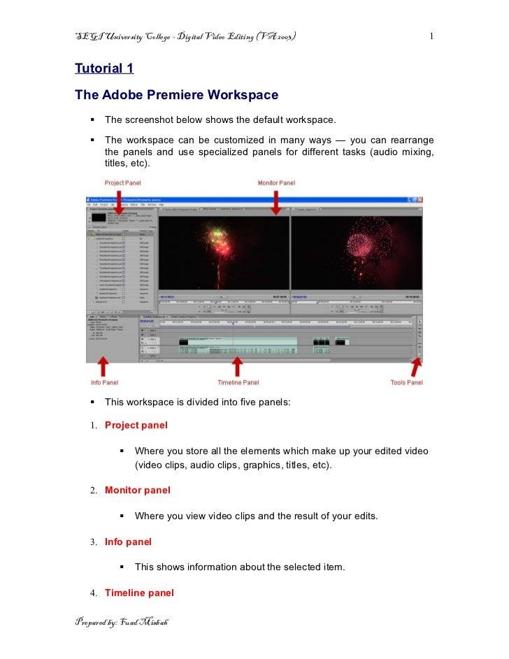 SEGI University College – Digital Video Editing (VA 2003)                         1Tutorial 1The Adobe Premiere Workspace ...