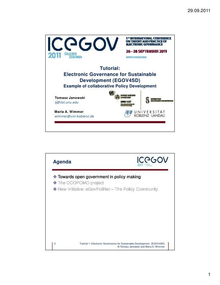 29.09.2011                    Tutorial:      Electronic Governance for Sustainable             Development (EGOV4SD)      ...