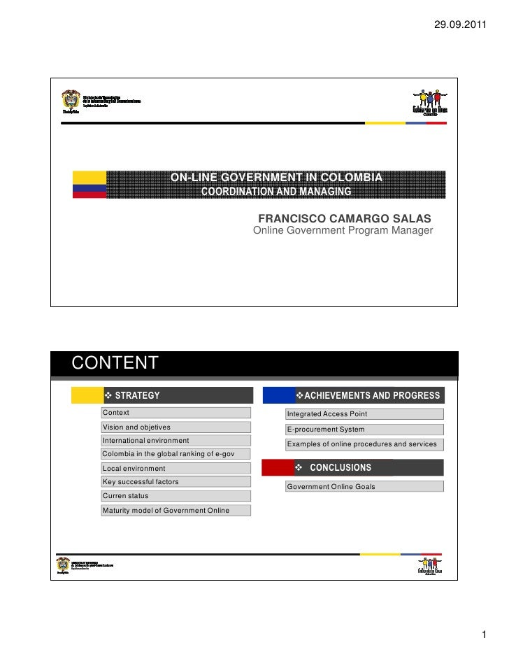 29.09.2011                      ON-LINE GOVERNMENT IN COLOMBIA                           COORDINATION AND MANAGING        ...