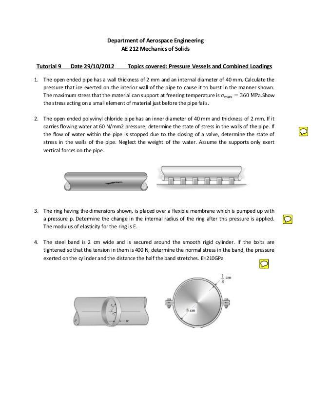 Department of Aerospace Engineering                                   AE 212 Mechanics of Solids Tutorial 9    Date 29/10/...