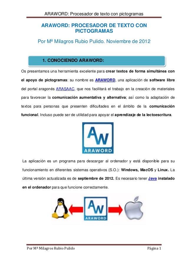 ARAWORD: Procesador de texto con pictogramas           ARAWORD: PROCESADOR DE TEXTO CON                     PICTOGRAMAS   ...
