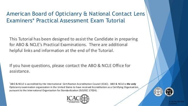 ABO & NCLE Practical Exam Slideshow Tutorial Slide 2