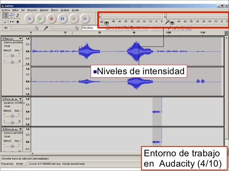 <ul><li>Niveles de intensidad </li></ul>Entorno de trabajo en  Audacity (4/10)