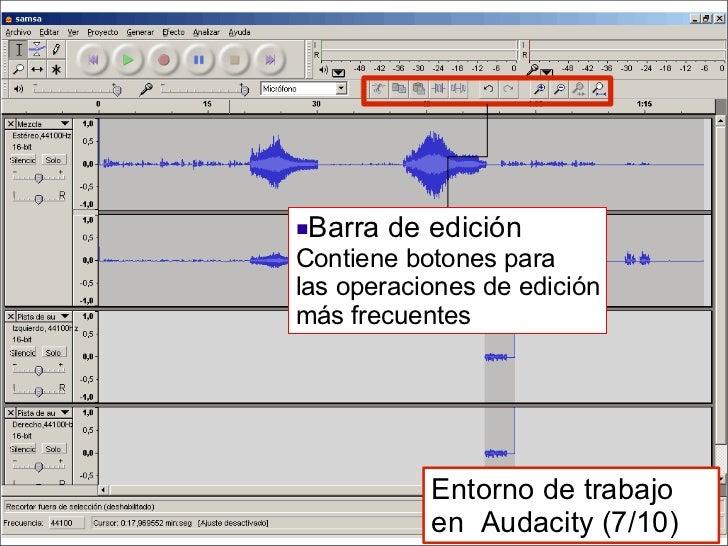 <ul><li>Barra de edición Contiene botones para  las operaciones de edición más frecuentes </li></ul>Entorno de trabajo en ...