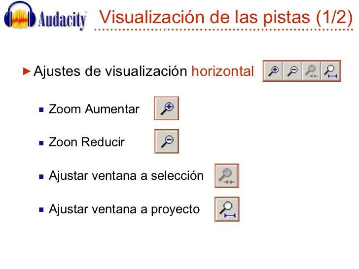 Visualización de las pistas (1/2) <ul><li>Ajustes de visualización  horizontal </li></ul><ul><ul><li>Zoom Aumentar  </li><...