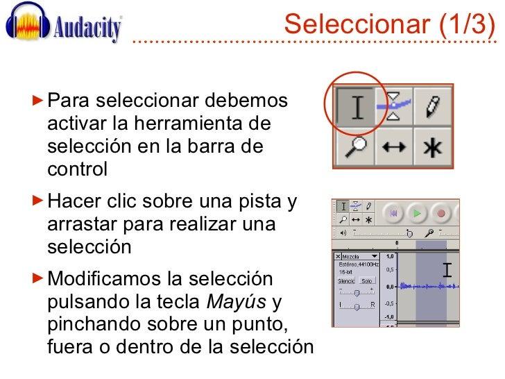 Seleccionar (1/3) <ul><li>Para seleccionar debemos activar la herramienta de selección en la barra de control </li></ul><u...