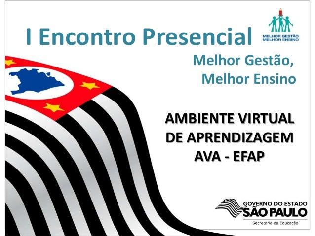 I Encontro PresencialMelhor Gestão,Melhor EnsinoAMBIENTE VIRTUALDE APRENDIZAGEMAVA - EFAP