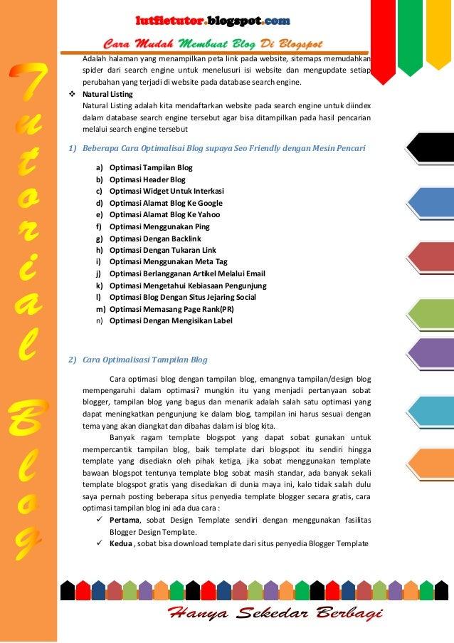 lutfietutor.blogspot.com Adalah halaman yang menampilkan peta link pada website, sitemaps memudahkan spider dari search en...