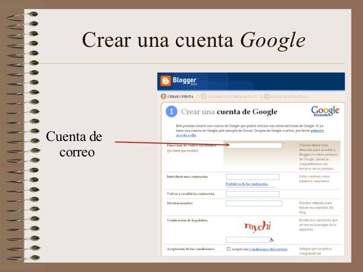 Crear una cuenta GoogleCuenta de  correo