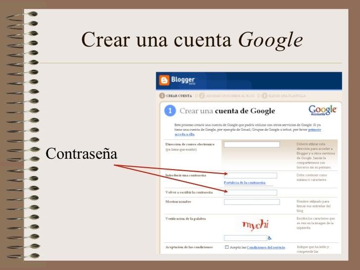 Crear una cuenta GoogleContraseña