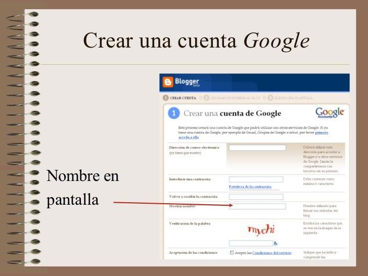 Crear una cuenta GoogleNombre enpantalla
