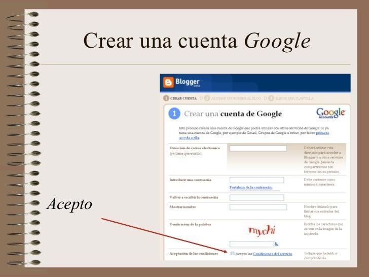 Crear una cuenta GoogleAcepto