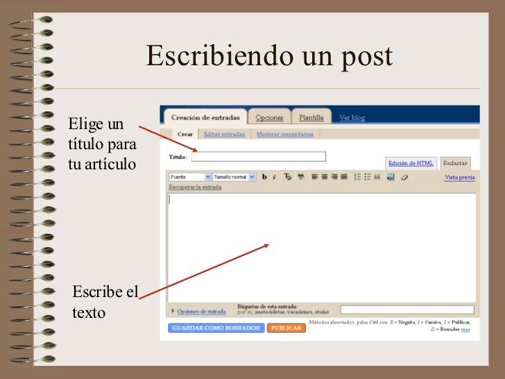 Escribiendo un postElige untítulo paratu artículoEscribe eltexto