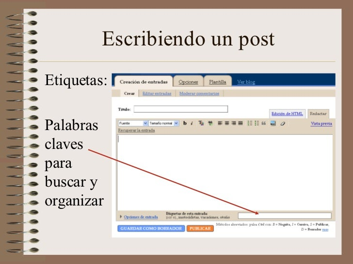 Escribiendo un postEtiquetas:Palabrasclavesparabuscar yorganizar