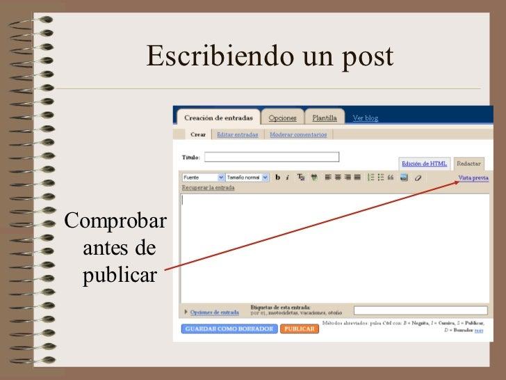 Escribiendo un postComprobar antes de publicar