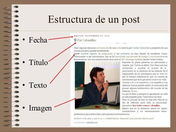 Estructura de un post• Fecha• Título• Texto• Imagen