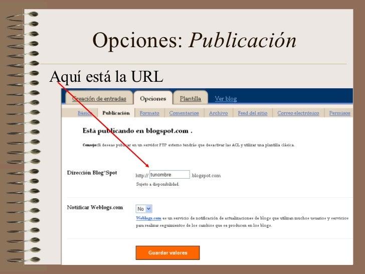 Opciones: PublicaciónAquí está la URL