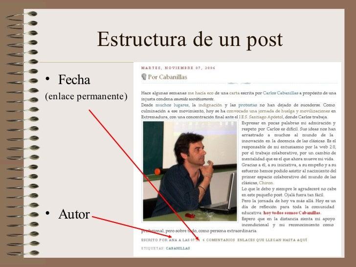 Estructura de un post• Fecha(enlace permanente)• Autor