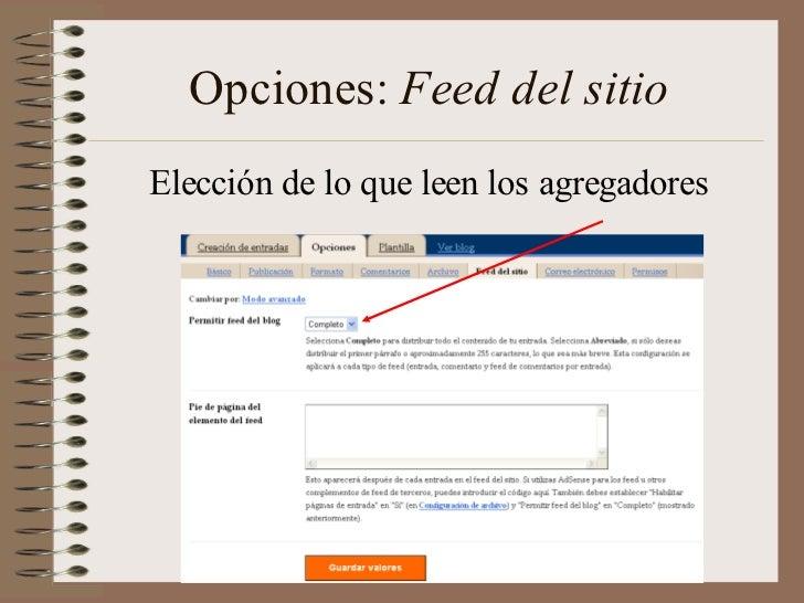 Opciones: Feed del sitioElección de lo que leen los agregadores