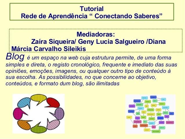 """Tutorial Rede de Aprendência """" Conectando Saberes"""" Mediadoras: Zaíra Siqueira/ Geny Lucia Salgueiro /Diana Márcia Carvalho..."""