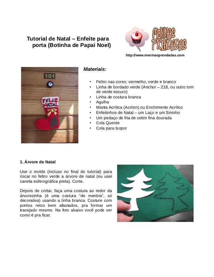 Tutorial de Natal – Enfeite para     porta (Botinha de Papai Noel)                                                        ...