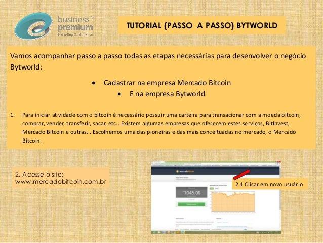 Vamos acompanhar passo a passo todas as etapas necessárias para desenvolver o negócio Bytworld:  Cadastrar na empresa Mer...