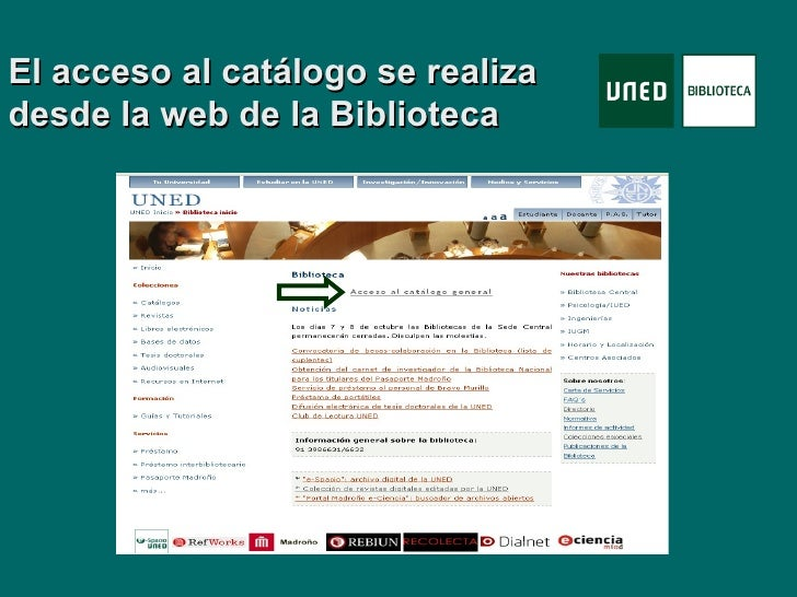 Tutorial catalogo biblioteca de la uned for Biblioteca uned catalogo