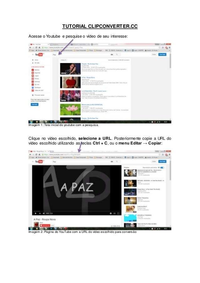 TUTORIAL CLIPCONVERTER.CC Acesse o Youtube e pesquise o vídeo de seu interesse: Imagem 1: Tela inicial do youtube com a pe...