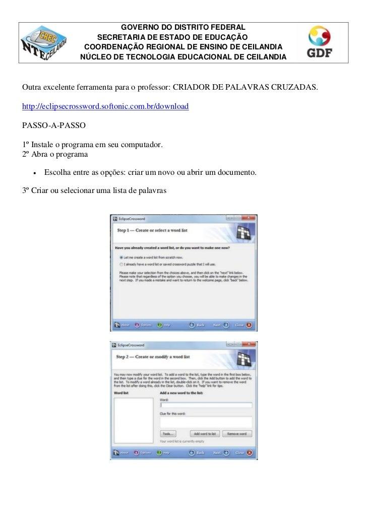 GOVERNO DO DISTRITO FEDERAL                    SECRETARIA DE ESTADO DE EDUCAÇÃO                  COORDENAÇÃO REGIONAL DE E...