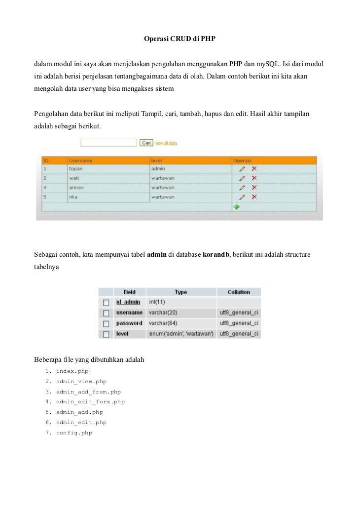 Operasi CRUD di PHPdalam modul ini saya akan menjelaskan pengolahan menggunakan PHP dan mySQL. Isi dari modulini adalah be...