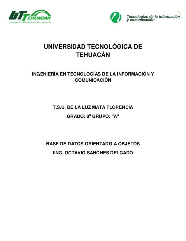 UNIVERSIDAD TECNOLÓGICA DE             TEHUACÁNINGENIERÍA EN TECNOLOGÍAS DE LA INFORMACIÓN Y                COMUNICACIÓN  ...