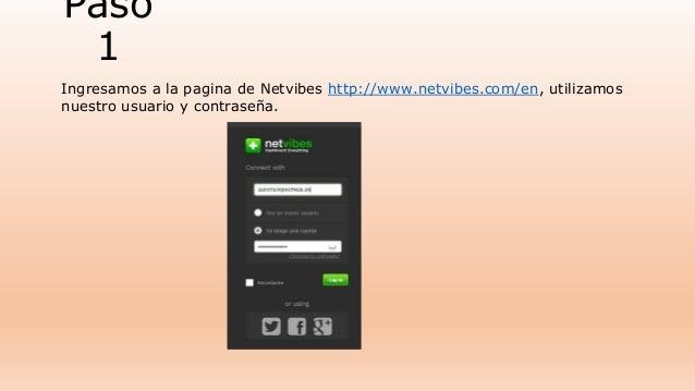 Paso  1  Ingresamos a la pagina de Netvibes http://www.netvibes.com/en, utilizamos  nuestro usuario y contraseña.