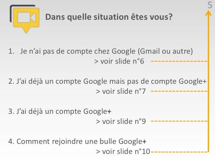 5           Dans quelle situation êtes vous?1. Je n'ai pas de compte chez Google (Gmail ou autre)                         ...