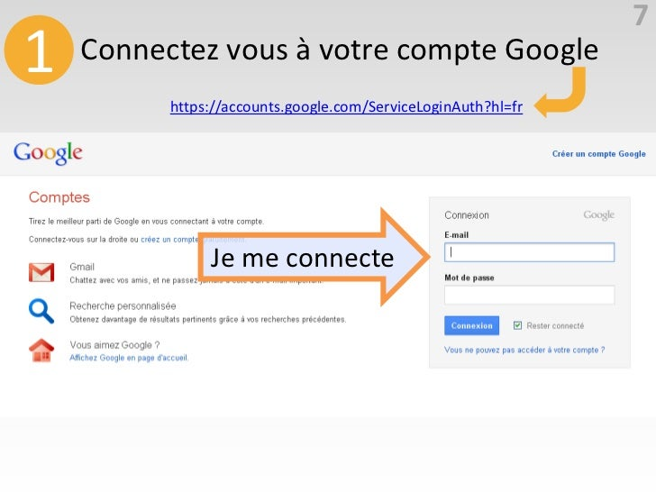 71   Connectez vous à votre compte Google          https://accounts.google.com/ServiceLoginAuth?hl=fr               Je me ...