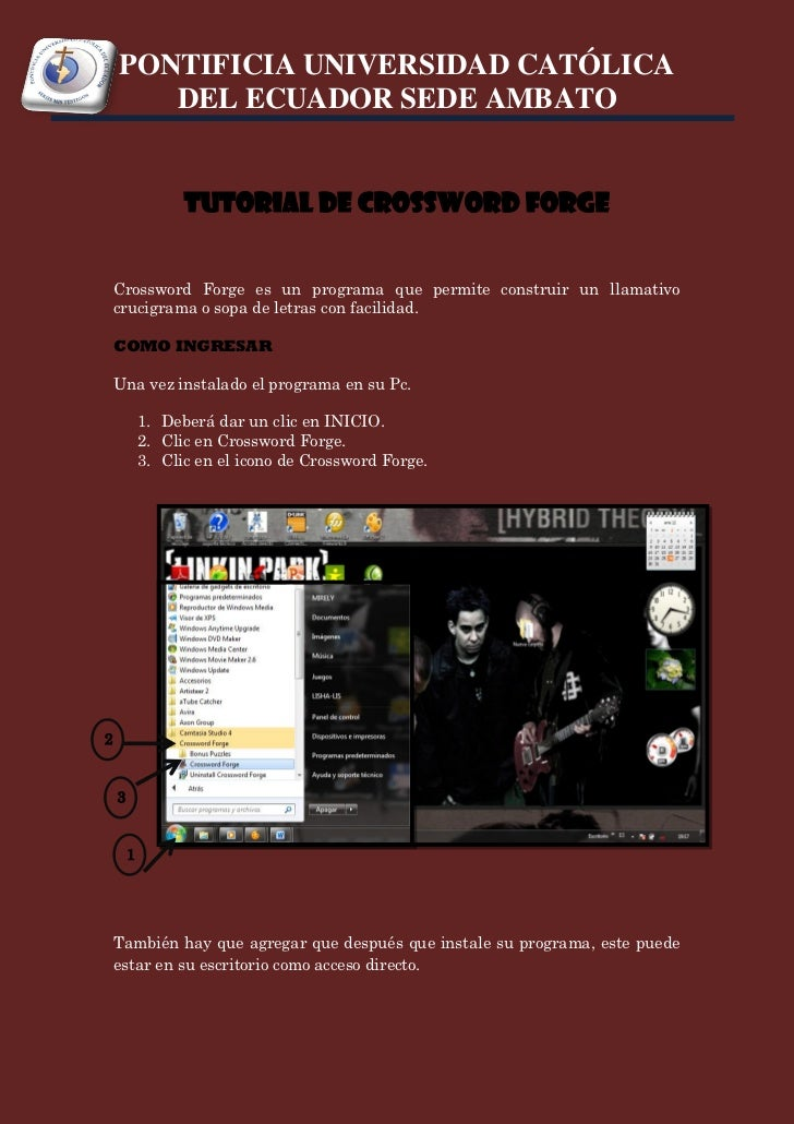 PONTIFICIA UNIVERSIDAD CATÓLICA       DEL ECUADOR SEDE AMBATO                  TUTORIAL DE CROSSWORD FORGE    Crossword Fo...