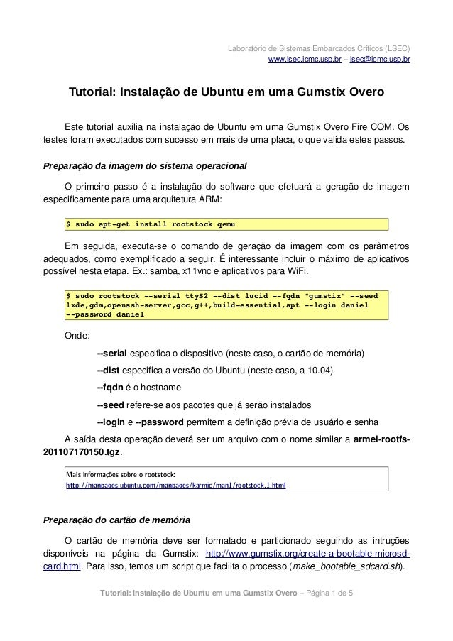 Laboratório de Sistemas Embarcados Críticos (LSEC)www.lsec.icmc.usp.br – lsec@icmc.usp.brTutorial: Instalação de Ubuntu em...