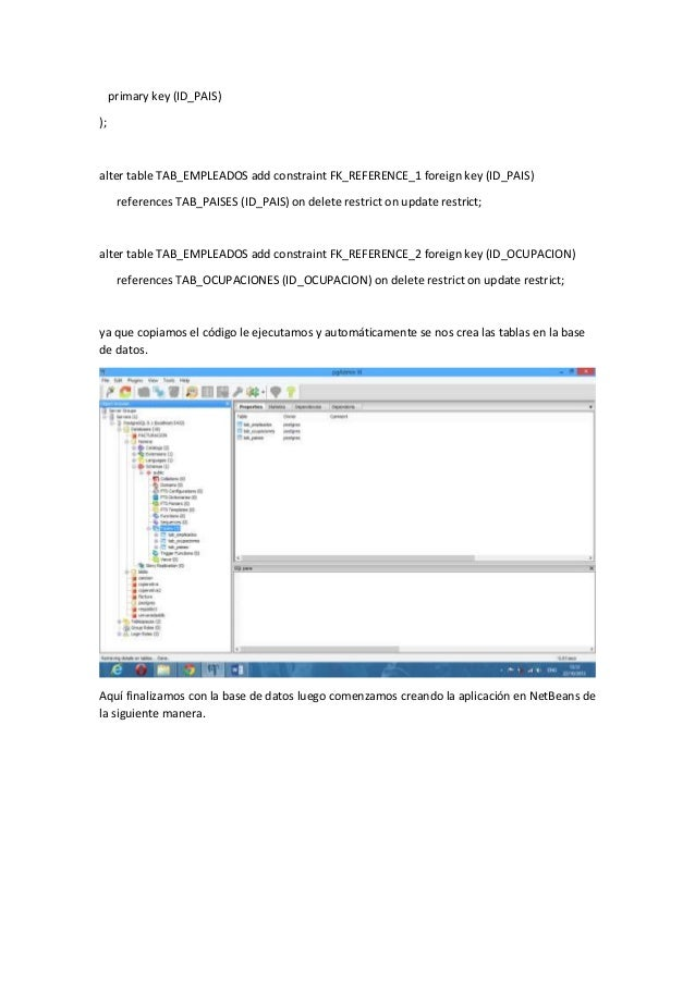 Tutorial de persistencia en java con postgresql - Alter table add constraint primary key ...