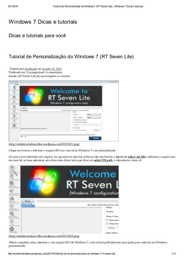 22/1/2014 Tutorial de Personalização do Windows 7 (RT Seven Lite) | Windows 7 Dicas e tutoriais http://solutionwindows.wor...