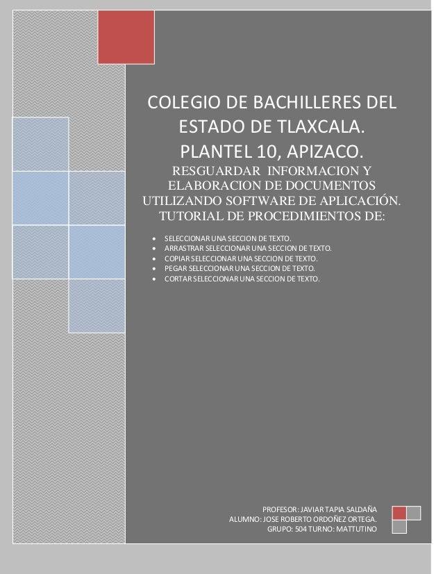 COLEGIO DE BACHILLERES DEL   ESTADO DE TLAXCALA.   PLANTEL 10, APIZACO.    RESGUARDAR INFORMACION Y   ELABORACION DE DOCUM...