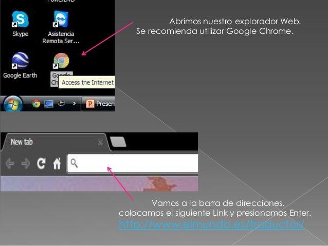 Tutorial de utilización de traductor elmundo.es Slide 2