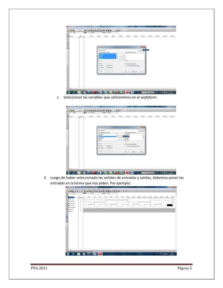 c. Seleccionar las variables que utilizaremos en el wafeform.      3. Luego de haber seleccionado las señales de entradas ...