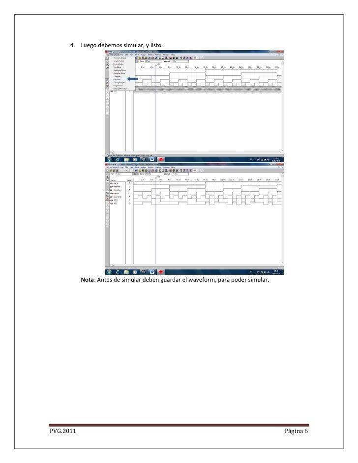 4. Luego debemos simular, y listo.           Nota: Antes de simular deben guardar el waveform, para poder simular.PVG.2011...