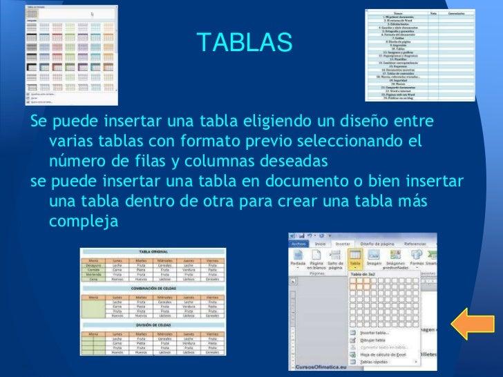 TABLASSe puede insertar una tabla eligiendo un diseño entre   varias tablas con formato previo seleccionando el   número d...