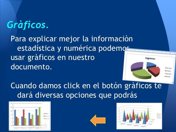 Gràficos.Para explicar mejor la informaciòn  estadística y numérica podemosusar gràficos en nuestrodocumento.Cuando damos ...