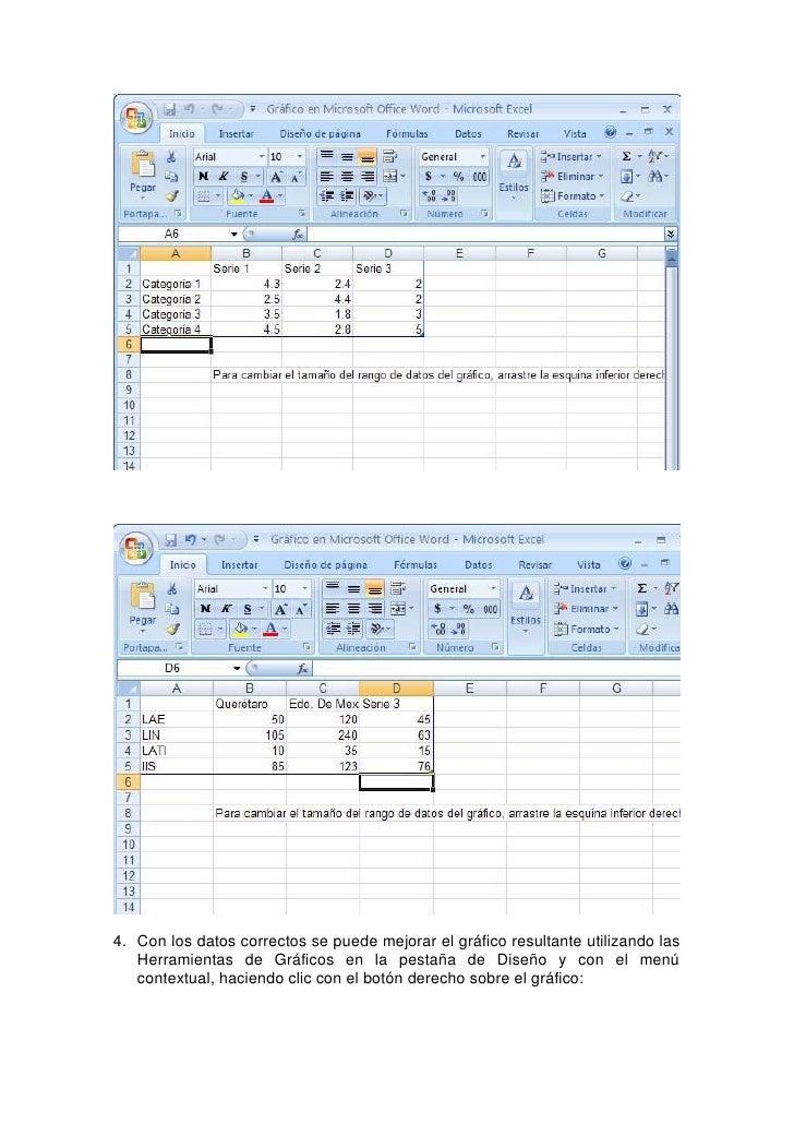 5. Para salir de la herramienta para crear gráficos de Office 2007, solo se debe hacer clic en el documento y el gráfico q...