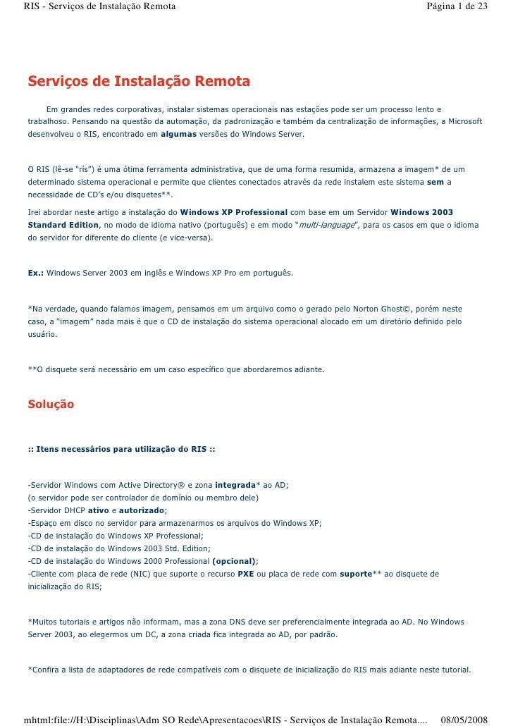 RIS - Serviços de Instalação Remota                                                                        Página 1 de 23 ...