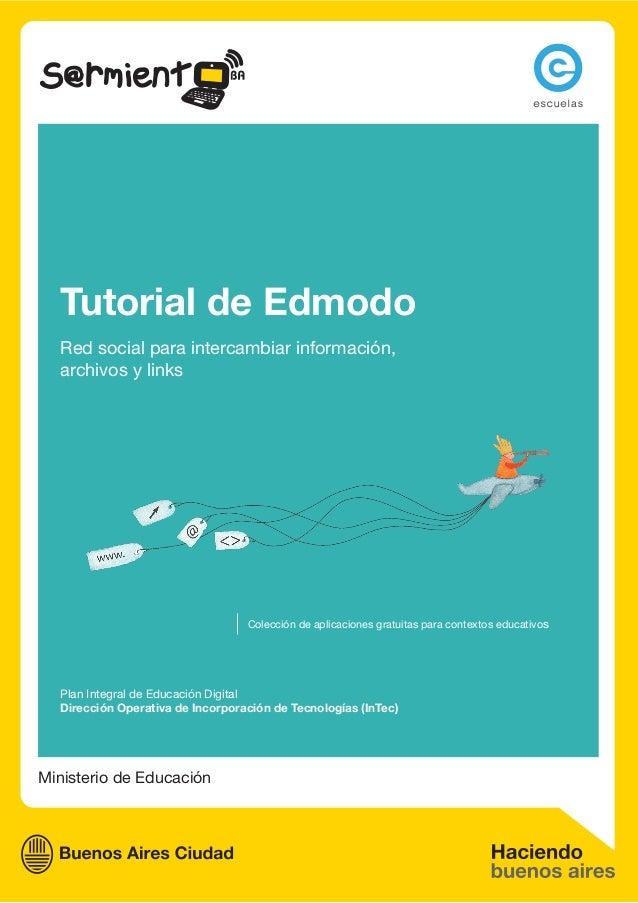 Ministerio de Educación Tutorial de Edmodo Red social para intercambiar información, archivos y links Plan Integral de Edu...
