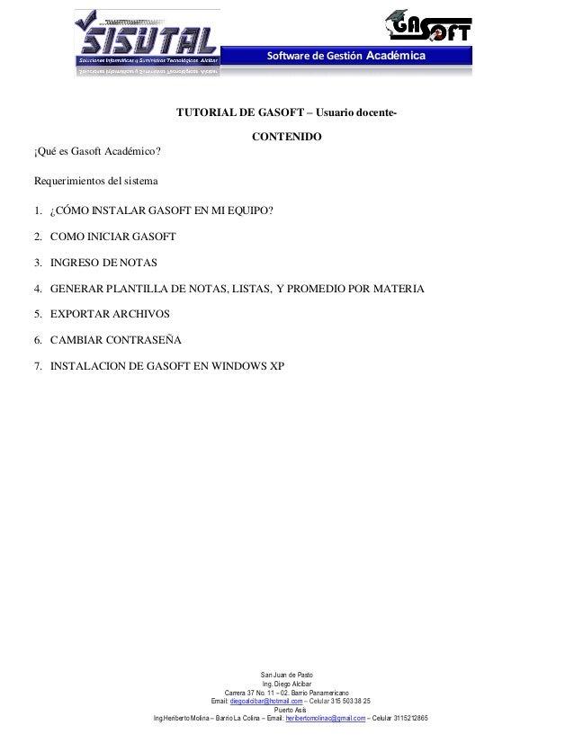 Software de Gestión Académica                                 TUTORIAL DE GASOFT – Usuario docente-                       ...