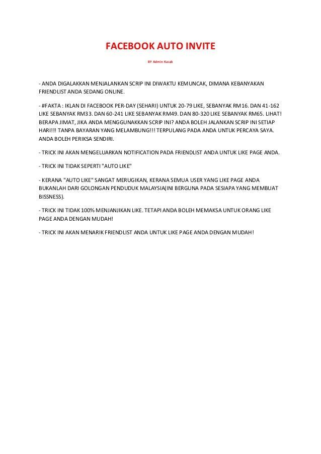 FACEBOOK AUTO INVITE BY Admin Kacak  - ANDA DIGALAKKAN MENJALANKAN SCRIP INI DIWAKTU KEMUNCAK, DIMANA KEBANYAKAN FRIENDLIS...